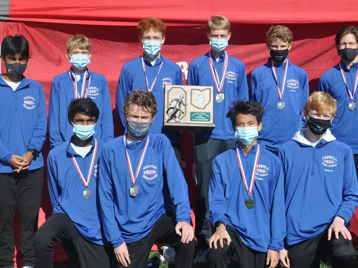 Boys' Cross Country celebrates a second place finish at the Ohio High School Athletic Association D-II Regional Championships