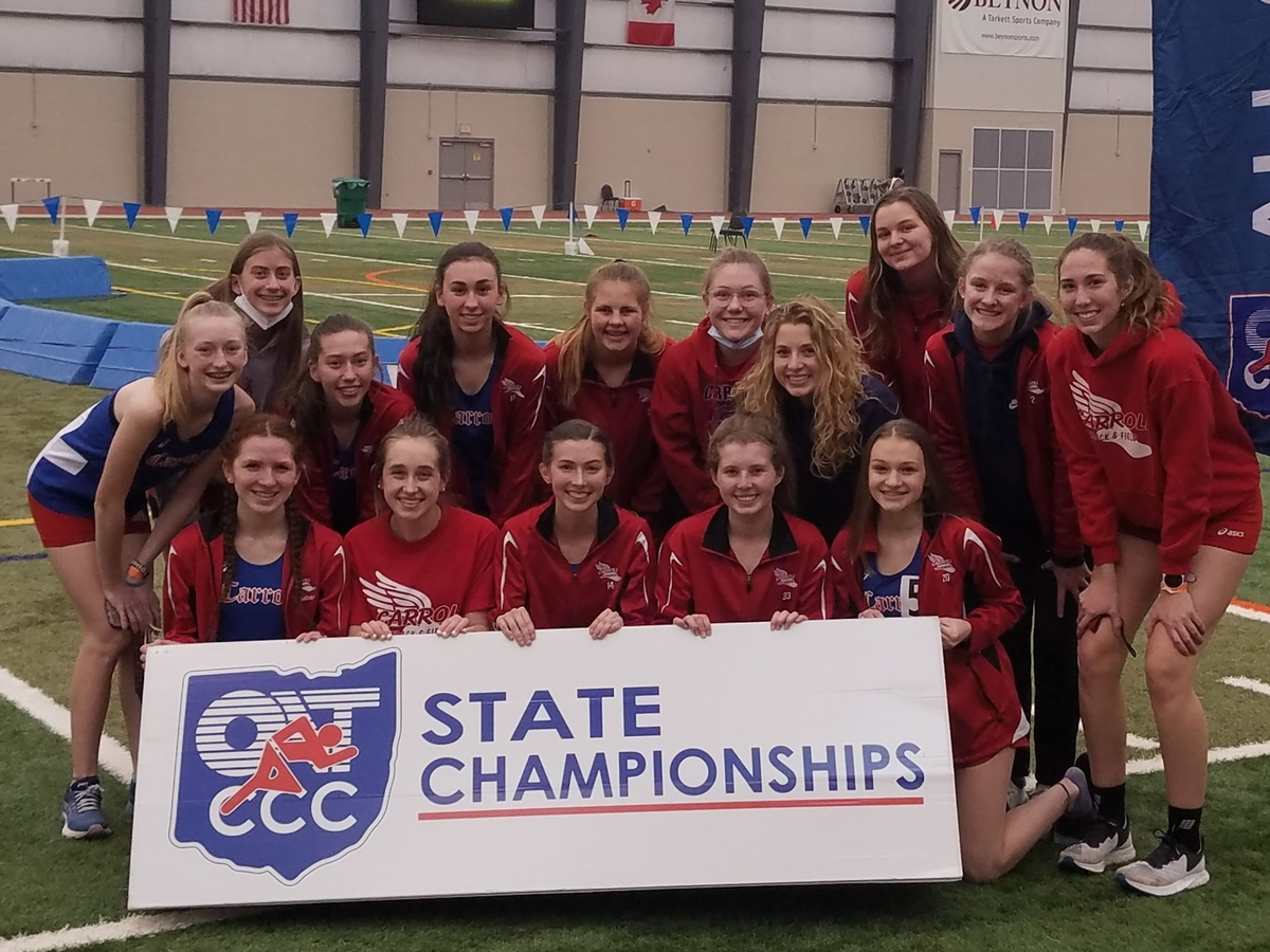 The Carroll Girls Indoor Track and Field team at the 2021 State Championships