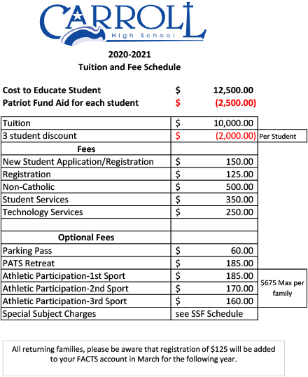 2020-21 Tuition and Fee Schedule