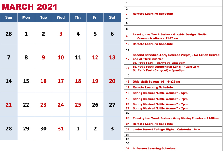 Carroll High School March 2021 Calendar