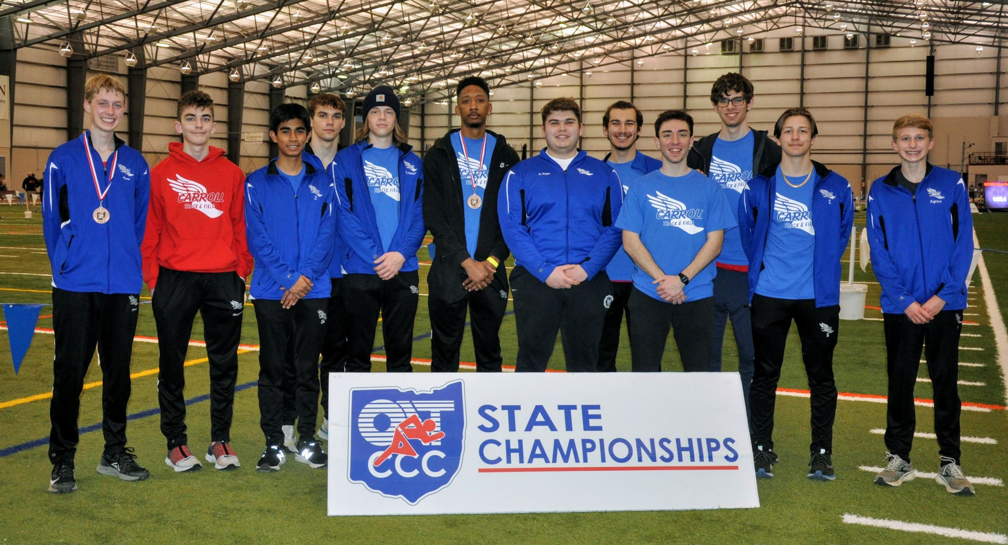 The Carroll Boys Indoor Track and Field Team at the State Championships